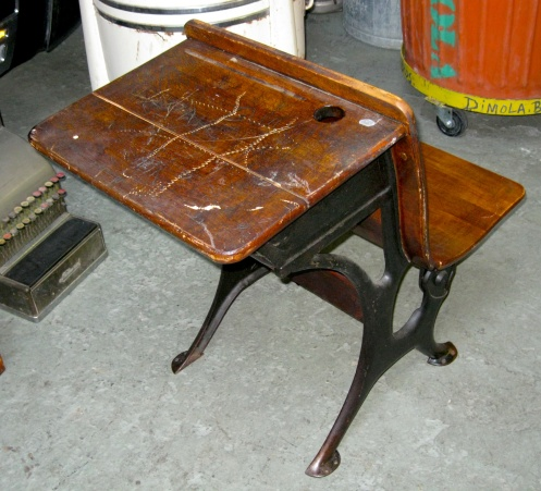 This vintage school desk has the perfect hole for an inkwell in the upper  right-hand corner. - THE PERFECT FIT: DiMola Bros Finds 1920s Desk For Inkwell Pen In NYC